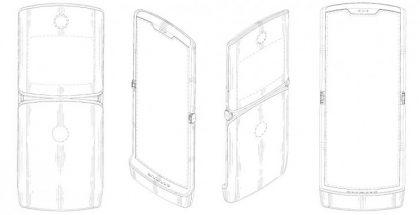 Patenttikuvissa taittuvanäyttöinen Motorola Razr.