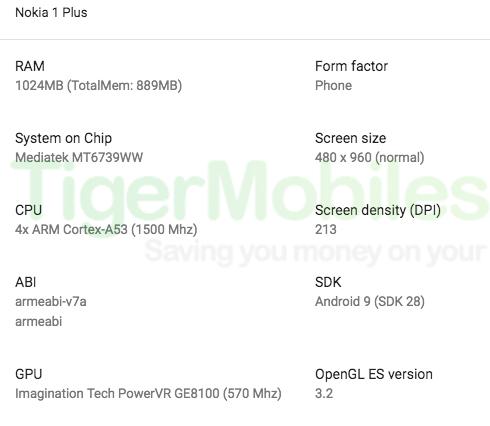 Nokia 1 Plussan tekniset tiedot.
