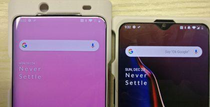 Kuvassa vasemmalla väitetty uusi OnePlus-puhelin, oikealla OnePlus 6T.