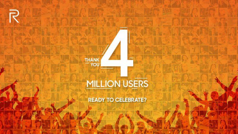 Realme kertoi saavuttaneensa 4 miljoonaa käyttäjää.