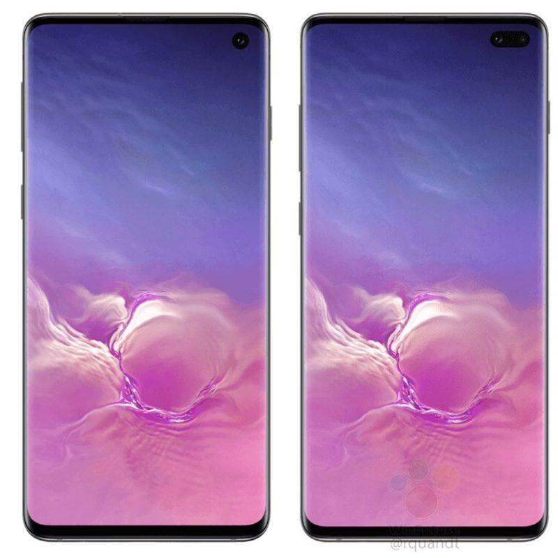 Samsung Galaxy S10:ssä on yksi etukamera, Galaxy S10+:ssa kaksi. Kuva: WinFuture.de. HUOMIO: Puhelinten koko ei mittakaavassa.