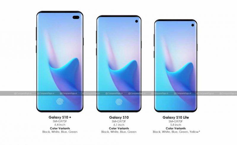 Tällaisia Samsung Galaxy S10 -malleista odotetaan. Kuvasta puuttuu 5G-malli.