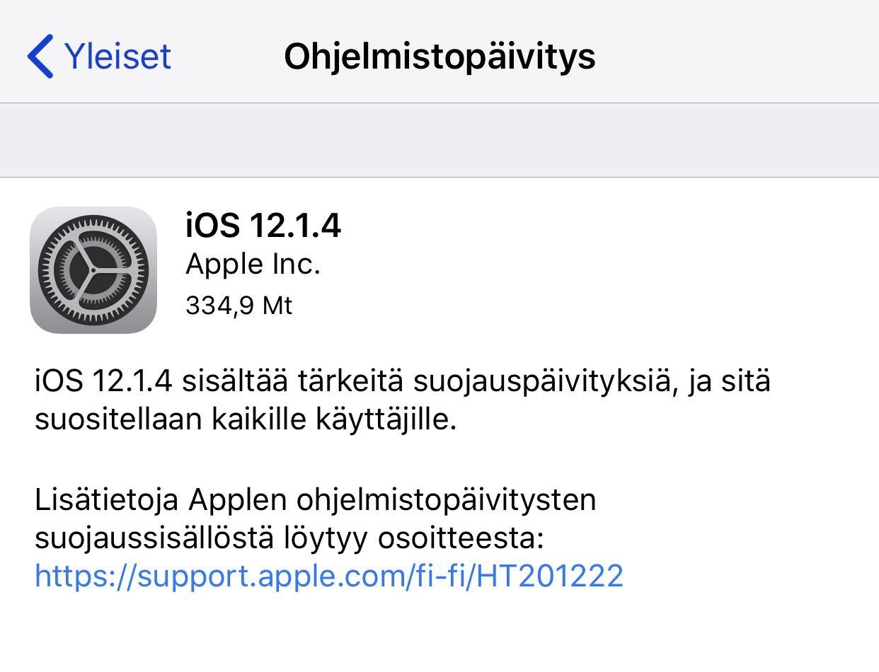 apple ohjelmistopäivitys
