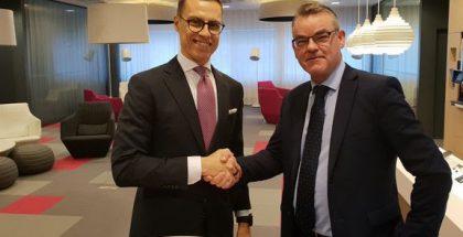 Euroopan investointipankin varapääjohtaja Alexander Stubb ja DNA:n toimitusjohtaja Jukka Leinonen.