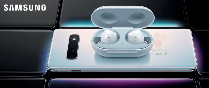 Galaxy Buds -kuulokkeiden kotelon lataus onnistuu langattomasti uudesta Galaxy S10+:sta. Kuva: WinFuture.de.