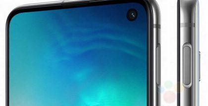 Galaxy S10e:n kyljelle varsin ylös sijoitettu sormenjälkilukijan sisältävä kotipainike on nähty ensi kertaa yksityiskohtaisesti kuvissa. Kuva: WinFuture.de.