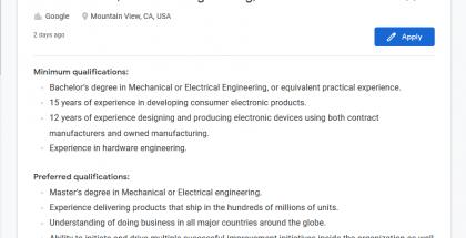 Googlen työpaikkailmoitus.
