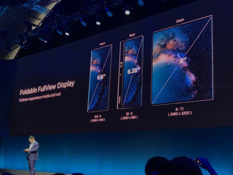 Huawei Mate X:ssä on avattuna 8 tuuman näyttö. Suljettuna eri puolilta löytyvät 6,6 ja 6,38 tuuman näytöt.