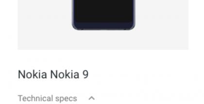Nokia 9:n tiedot Googlen sivuilla.