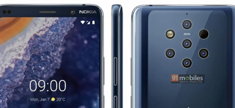 Viisi takakameraa tulevat olemaan Nokia 9 PureView'n erikoisuus. Kuva: 91mobiles.