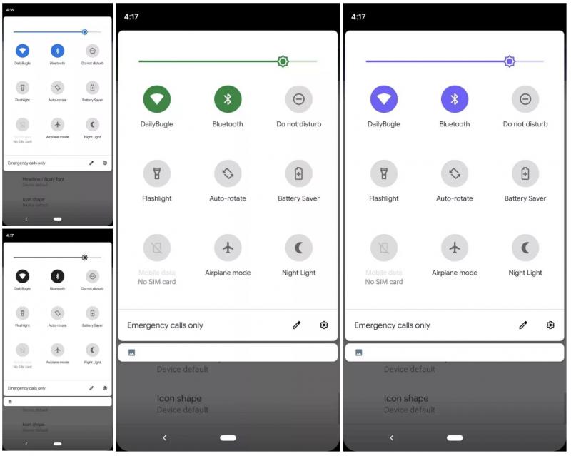 Android Q:ssa on mahdollista muuttaa korostusväriä. Kuva: 9to5Google.
