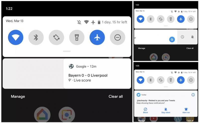 Android Q:ssa ilmoitukset poistetaan pyyhkäisemällä oikealle. Vasempaan pyyhkäistäessä aukeavat valinnat. Kuva: 9to5Google.