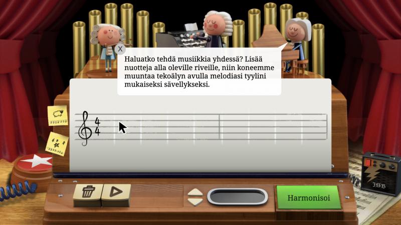 Bach-doodle harmonisoi syötetyn melodian.