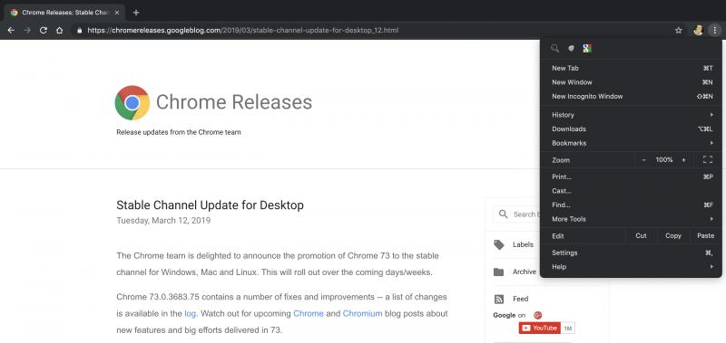 Tumma teema Applen macOS:lle on uutta Chrome 73:ssa.