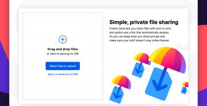 Firefox Send mahdollistaa tiedostojen jakamisen.