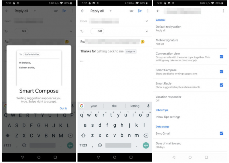 Smart Compose Gmail-sovelluksessa. Kuvat: Android Police.