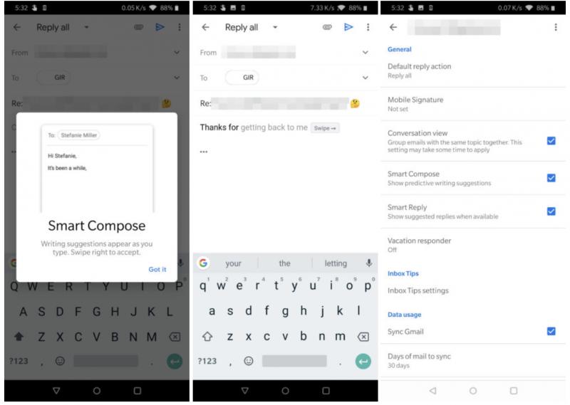 Smart Compose Gmail-sovelluksessa. Kuvat: Android Police.