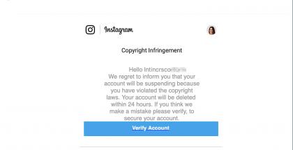 Tältä näyttää tekijänoikeusrikkomuksen verukkeella Instagram-tilitietoja kalasteleva sähköposti.