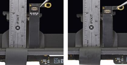 Vuoden 2018 MacBook Pro -tietokoneissa näyttäisi olevan aiempaa pidempi näyttökaapeli. Kuva: iFixit.