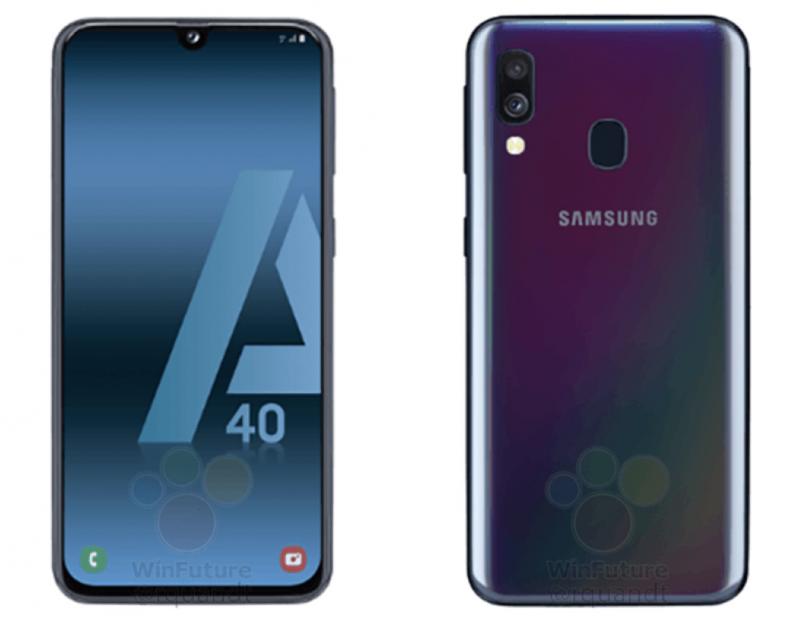 Galaxy A40:ssä on pienikokoinen lovi näytössä etukameralle. Takaa puhelin on muovia. Kuva: WinFuture.de.