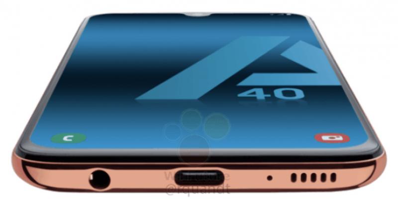 Galaxy A40:n pohjasta löytyvät USB-C ja 3,5 mm -liitännät.