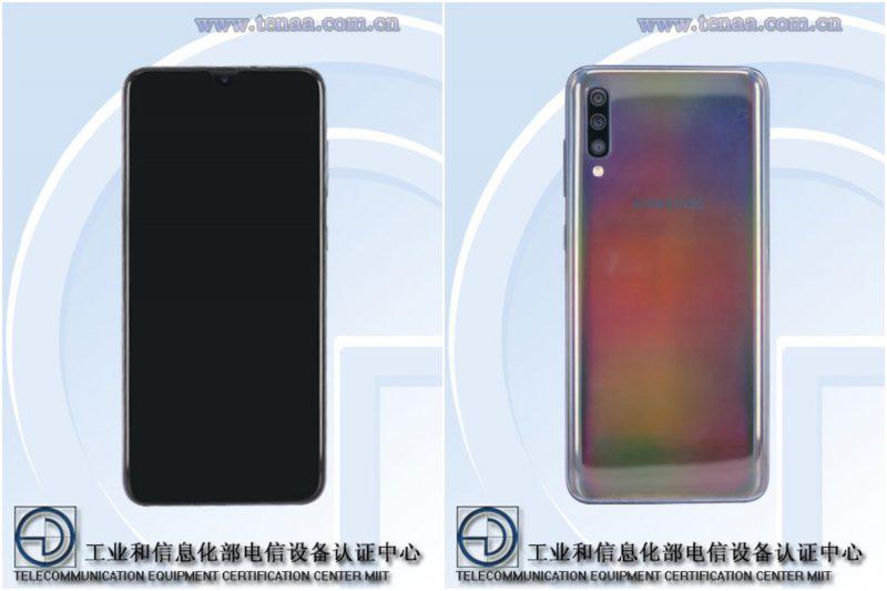 Samsungin todennäköinen Galaxy A70 mallikoodilla SM-A7050 TENAA-kuvissa.