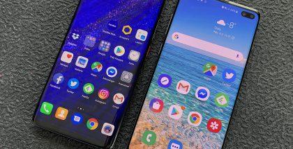 Huawei Mate 20 Pro ja Samsung Galaxy S10+.