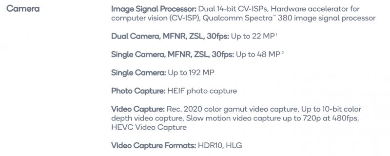 Tässä Snapdragon 855:n kameratuen speksit.