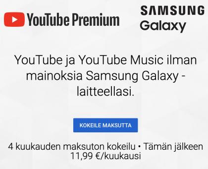 YouTube Premiumia on tarjolla pidempi pätkä ilmaiseksi Samsungin laitteen hankkiville.