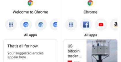 Näyttökuvia Google Chrome -selaimesta laitteille, jossa ei ole kosketusnäyttöä.