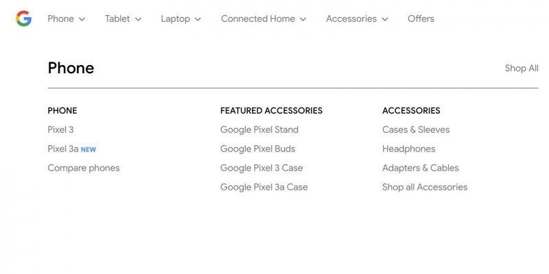 Google mainitsi jo vahingossa Pixel 3a:n sivuillaan. Kuva: 9to5Google.
