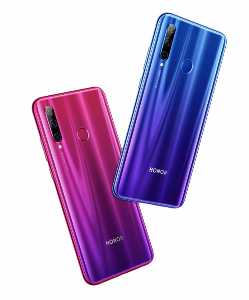 Honor 20 Lite Phantom Blue ja Phantom Red -väreissä.