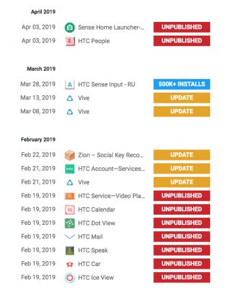 Moni HTC:n sovellus on poistettu Google Play -kaupasta.