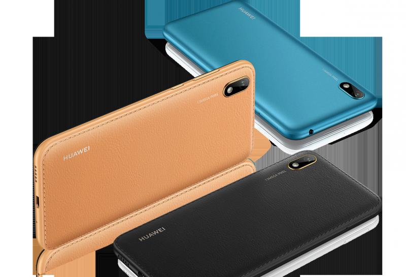 Tekonahkapinta on osassa Huawei Y5 2019:n värejä.
