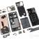 Huawei P30 Pro kokonaan purettuna. Kuva: iFixit.