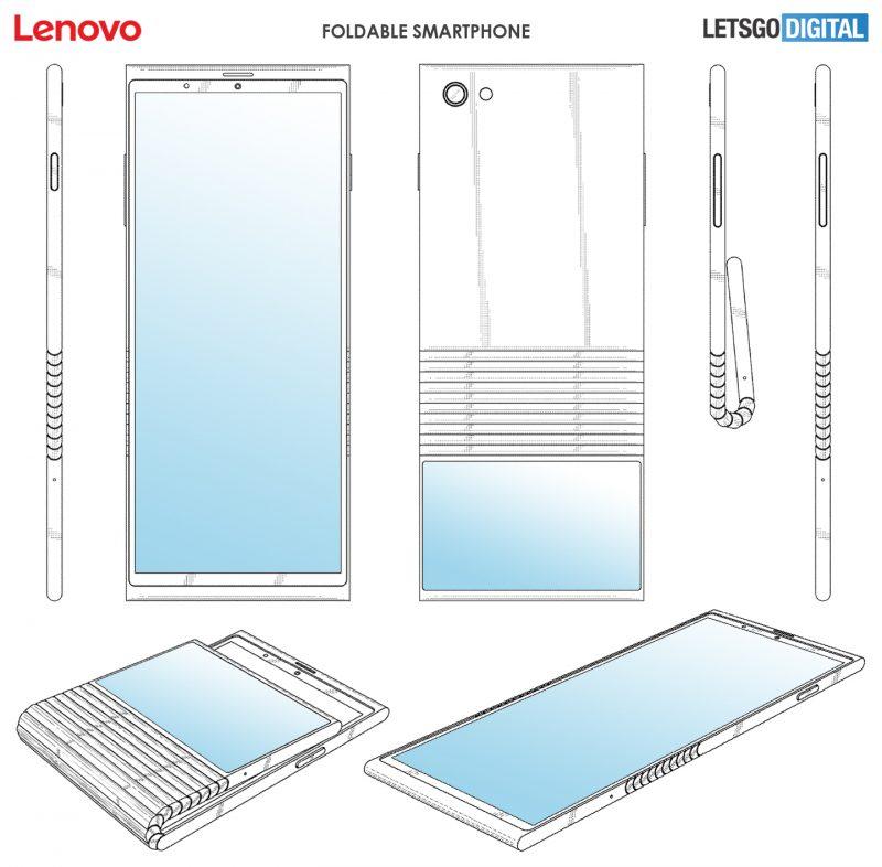 Lenovon patentoima taittuvanäyttöinen puhelin.