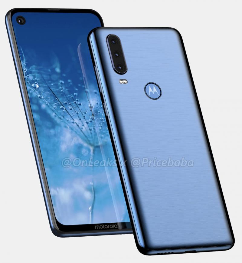 Moto G8? Uusi Motorola-puhelinmalli etukamerareiällä näytössä ja kolmella takakameralla. Kuva: OnLeaks / Pricebaba.
