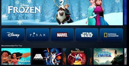 Tältä Disney+:n etusivu näyttää television ruudulla.