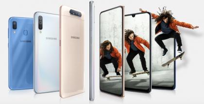 Samsungin uusia Galaxy A -sarjan älypuhelimia.