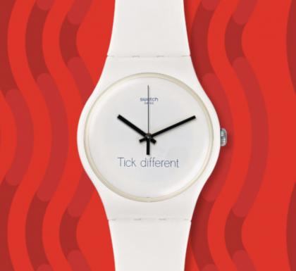 Swatch on käyttänyt Tick Different -lausetta myös kellotauluissaan.