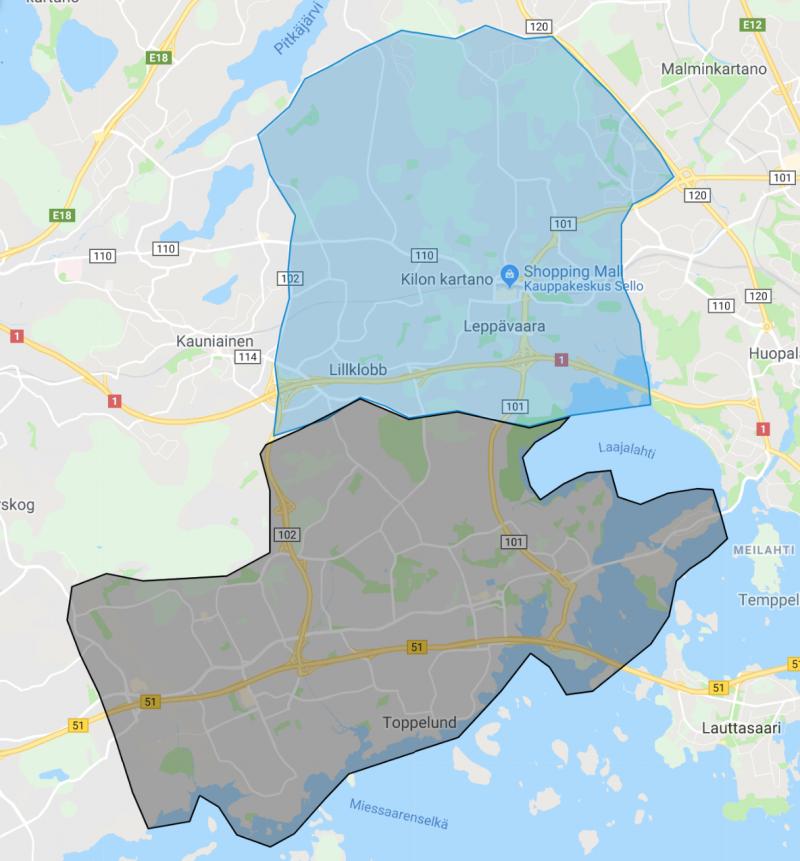 Kartalla näkyy harmaalla Espoon aiempi kuljetusalue, ja sinisellä Leppävaaraan laajennettu alue.