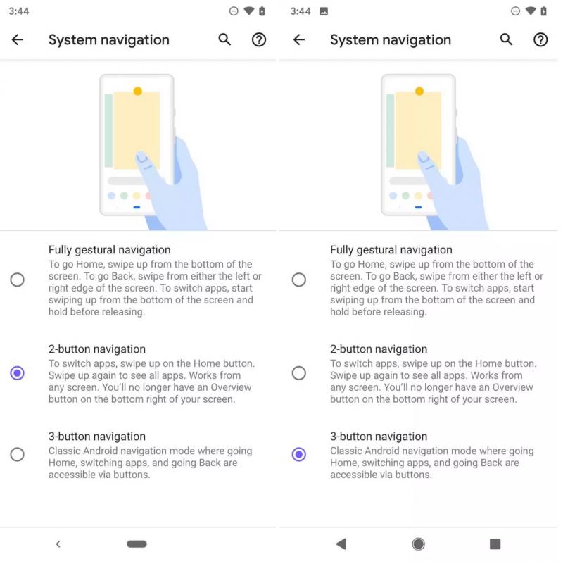 Android Q:n kolmas testijulkaisu tarjoaa kolme vaihtoehtoa navigointiin.
