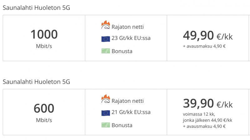 Elisan 5G-liittymät puhelimiin.