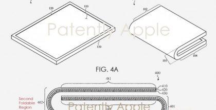 Applen patenttihakemuksen näkemyksiä taittuvanäyttöisestä laitteesta.