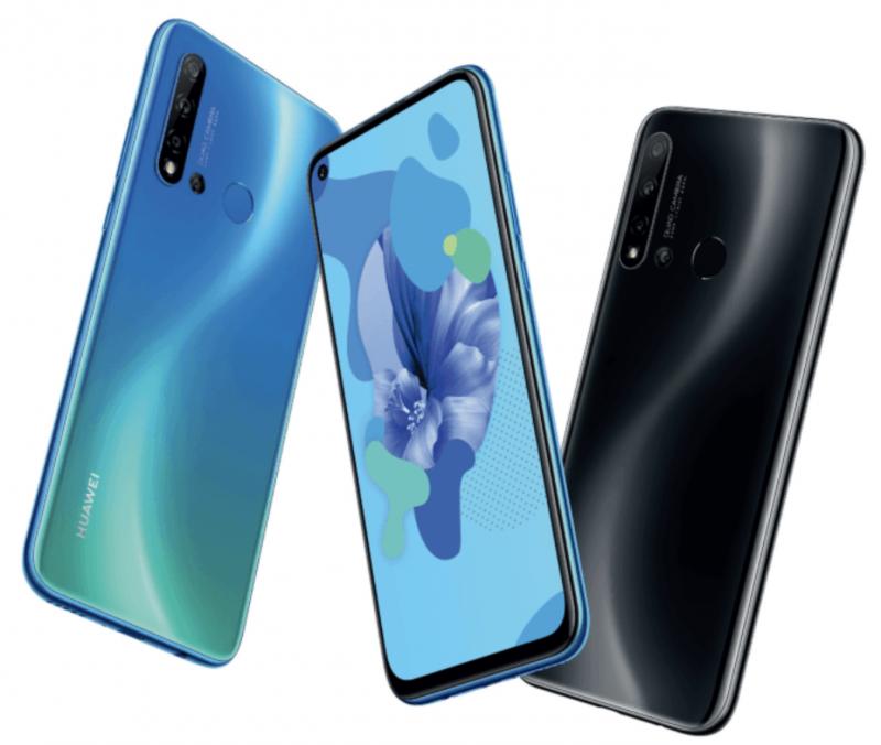 Huawei P20 Lite 2019:ssä on näyttö kamerareiällä sekä neljä takakameraa.