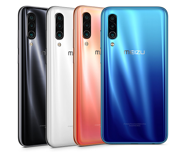 Meizu 16Xs:n värivaihtoehtoja ovat musta Midnight Black, valkoinen Silk White, korallinvärinen Coral Orange sekä sininen Blue.