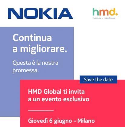 HMD Globalin 6. kesäkuuta Italiassa järjestettävän tilaisuuden kutsukuva.