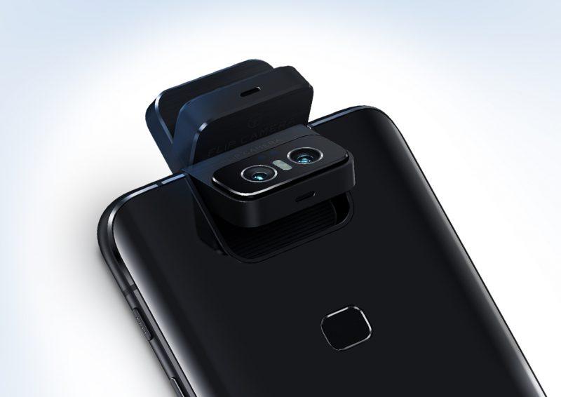 Vertailun vuoksi: tämä yhdistelmäkuva esittelee Asus ZenFone 6:n kameramoduulia eri asennoissa.