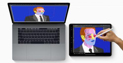 Nykyiset MacBook Pro ja iPad Pro. Esittelyssä kuvassa Sidecar-toiminto.