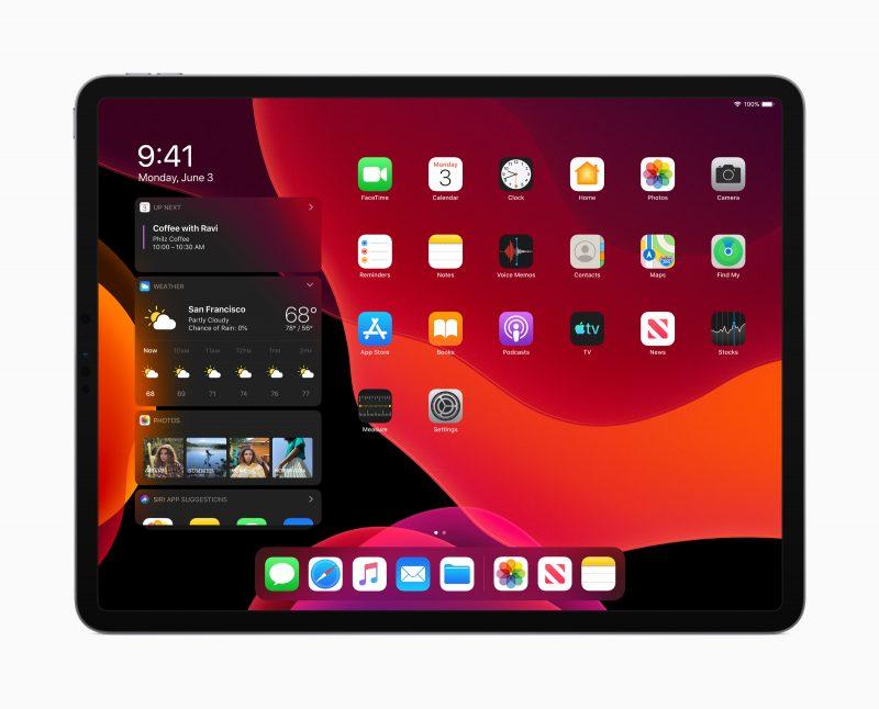 Myös iPadOS sisältää tumman tilan ja Tänään-näkymän voi nyt tuoda osaksi kotinäkymää.
